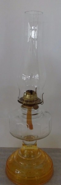 Vintage Amber Glass Oil Lamp with Eagle Burner & Chimney