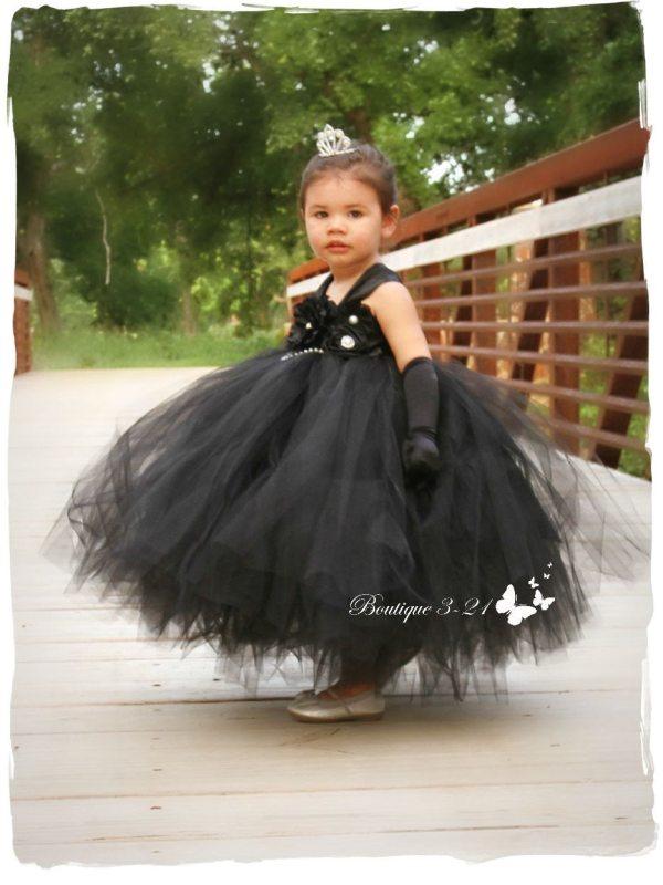 Black Flower Girl Dress Tutu Boutique321