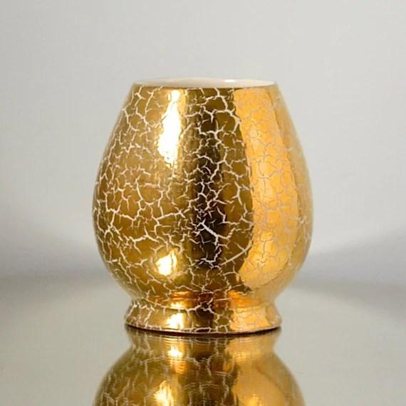 Vintage 60s Ceramic Vase with Gold Crackle by VintageJohnDoe