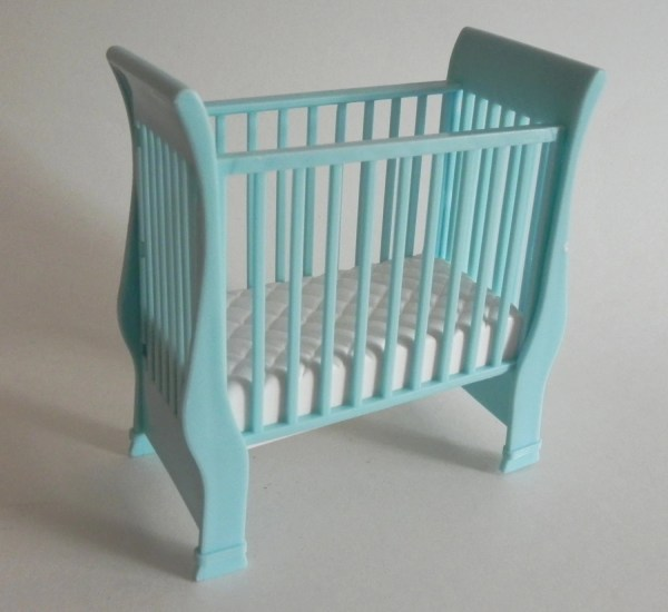 Barbie Baby Crib Blue And White Sleigh Bed 1990s Vintage