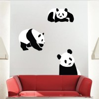 Panda Bear Wall Mural Decal, Bear Wall Art Sticker, Panda ...