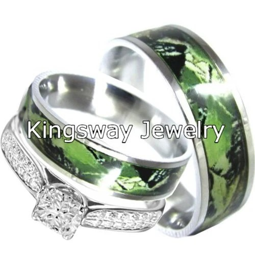 His And Hers Sterling Silver Stainless Steel Camo Rings Set