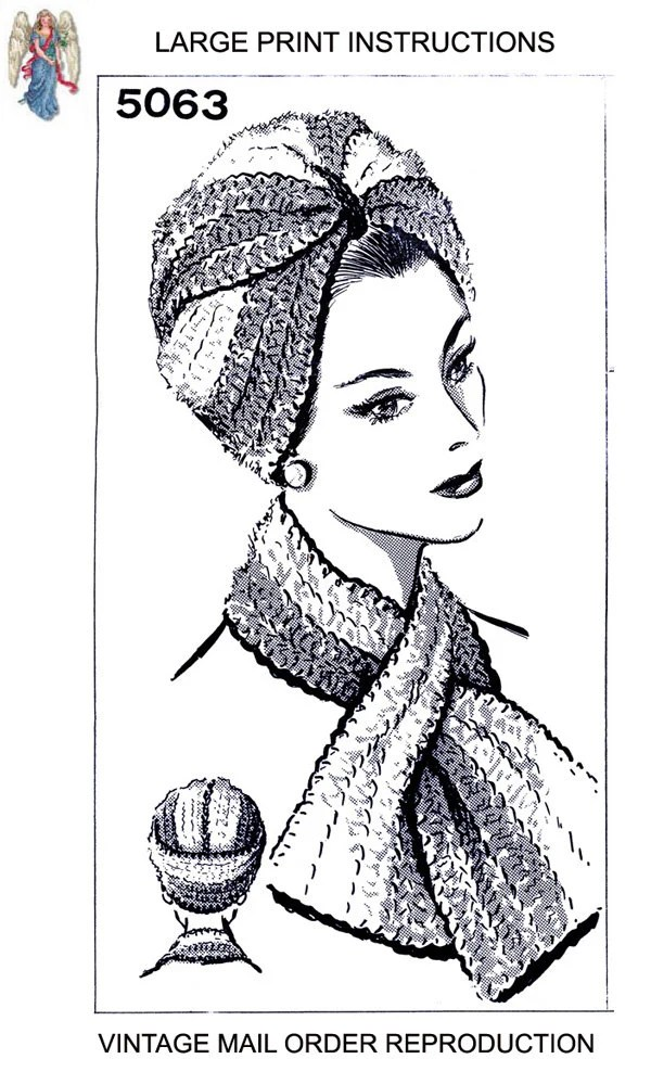 pdf 5063 Woman's TURBAN Twist HAT & SCARF Crochet Vintage
