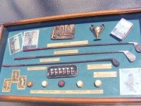 History of Golf Wood and Glass Display Case Brass Clubs Balls