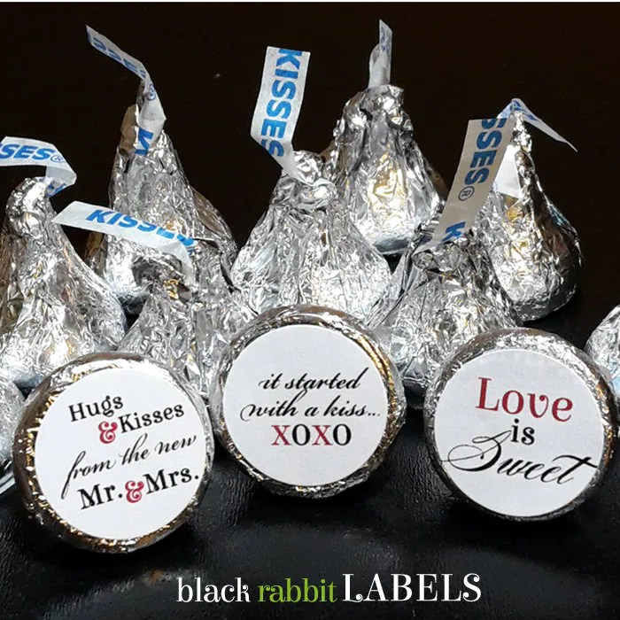 108 Hershey Kiss® Stickers Wedding Favors By Blackrabbitlabels