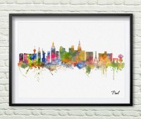 Las Vegas skyline city Watercolor art print wall art wall