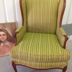 Striped Wingback Chair Keith Haring Vintage French Bergere Wing Carved Wood Frame Legs