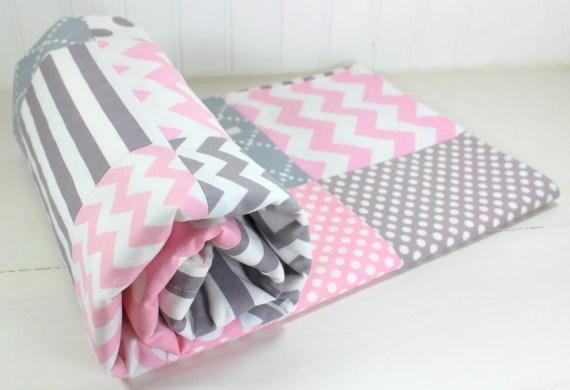 Baby Girl Blanket, Nursery Decor, Crib Blanket, Girl, Patchwork Baby Blanket, Minky Blanket, Pink, Gray, Grey, Chevron, Dots, Stripe