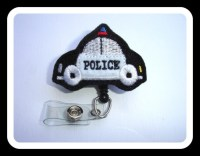 Badge holder retractable Police car black by ...