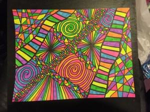 sharpie rainbow highlighter drawing neon inch