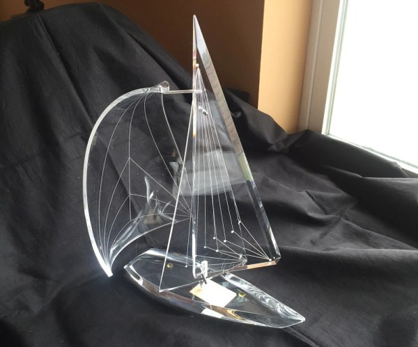 Lucite Sailboat Sculpture Charles Yi Acrylic Prismatic