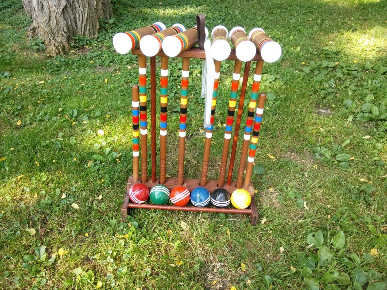 Vintage Six Player Wood Croquet Set With Wood Holder