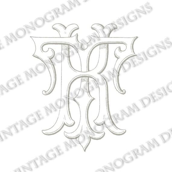 KT monogram or TK monogram vintage monogram by VintageMonogram