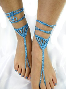 Sparkly Blue Wedding Shoes Chain Barefoot Sandals Foot