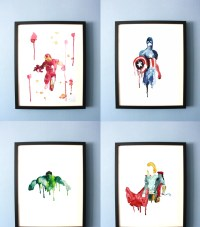 Avengers Art Print Abstract Watercolor Avengers Painting