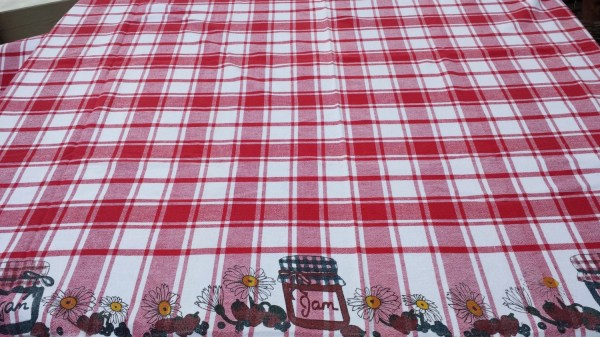 Vintage Red Gingham Tablecloth Picnic Cotton