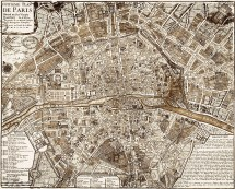 1705 Paris Map Vintage Restoration Hardware Style Wall