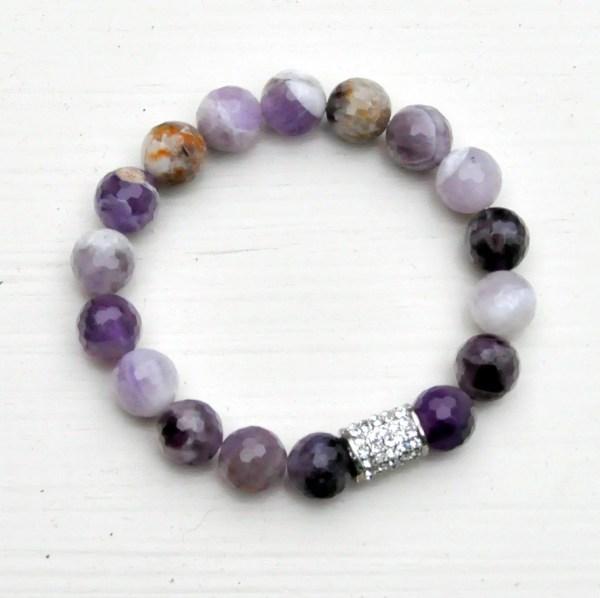 Amethyst Quartz Bracelet Purple And White Gemstone