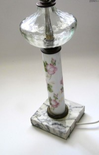 1940s Rose Painted Milk Glass Table Lamp by ...