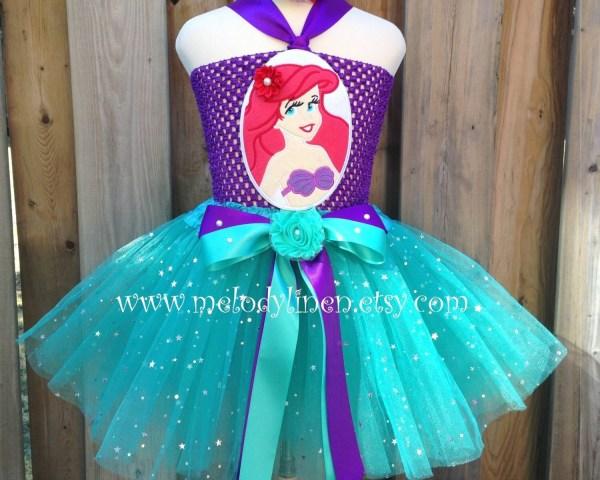 Mermaid Tutu Dress Set Headband Ariel