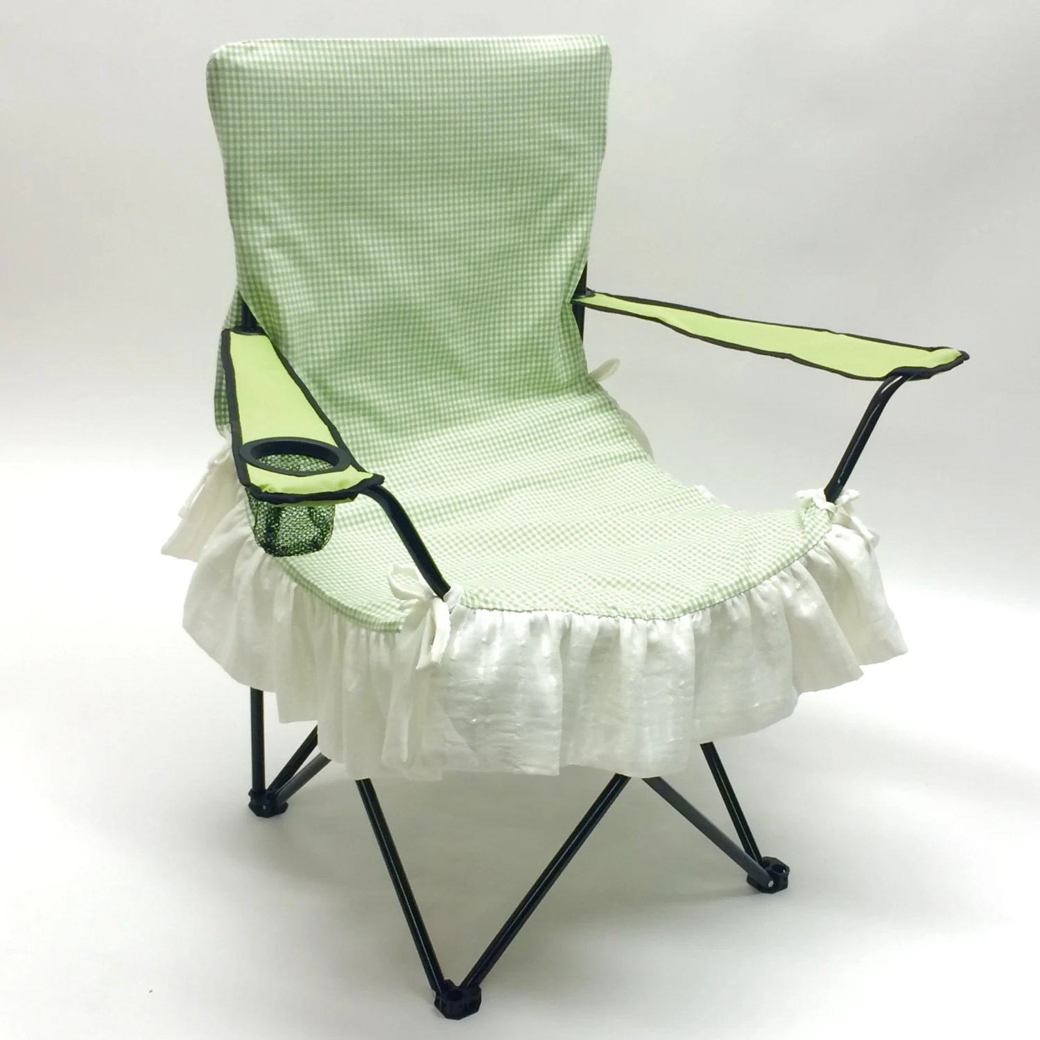 Green Chair Covers Green Check Print Glamping Chair Cover Glamorous Camping