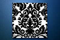 Black & White Damask Fabric Wall Art Fabric Bulletin Board