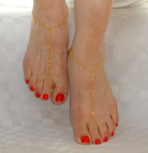 Gold Barefoot Sandals Anklet Slave Foot