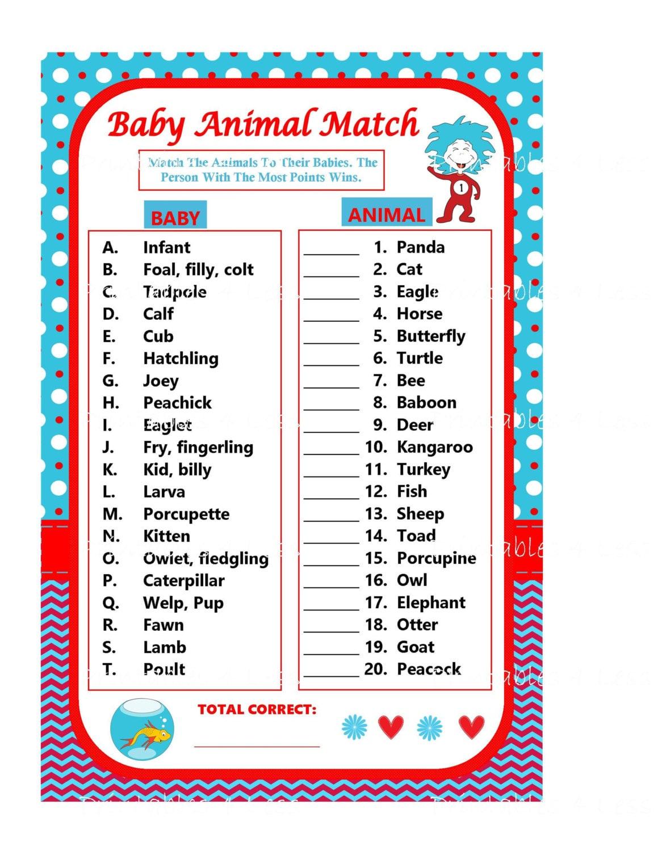 Dr Seuss Baby Animal Match Game Baby Animal Name Game Dr