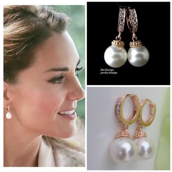 Kate Middleton Rose Gold Celebrity Inspired Bridal Cz Hoop