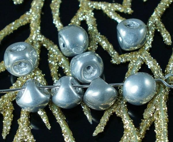 Opaque Metallic Silver Czech Glass Mushroom Button Beads 9mm X