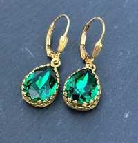 Emerald Swarovski Crystal Earrings May Birthstone Emerald