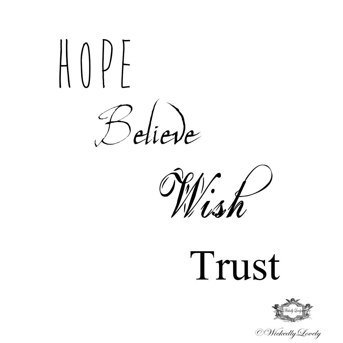 Inspirational Words Set 3 Hope Believe Wish Trust Body