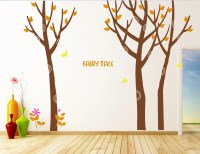 Brown tree wall decal fall-birch tree wall by Walldecorative