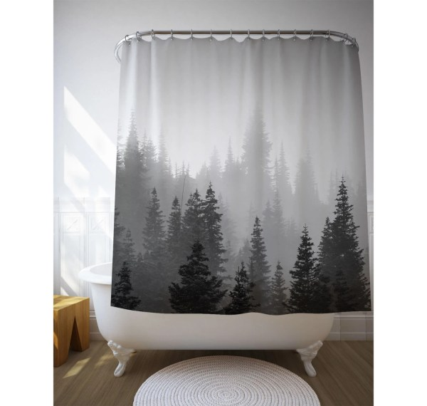 Tree Shower Curtain Decor Black White Landscape