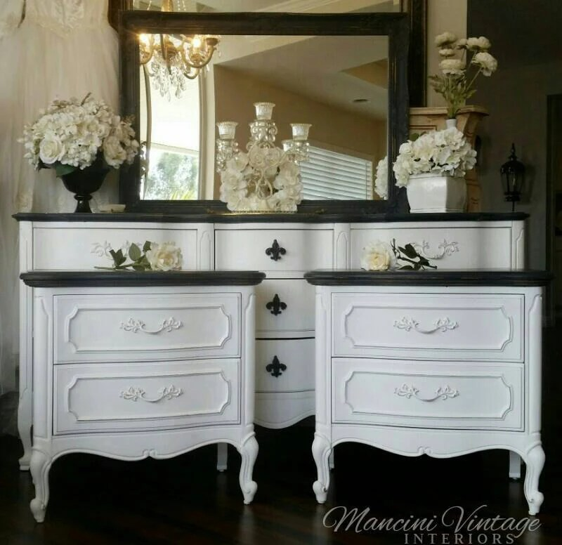 French Provincial Glam Boudoir Bedroom Set Black and White ...