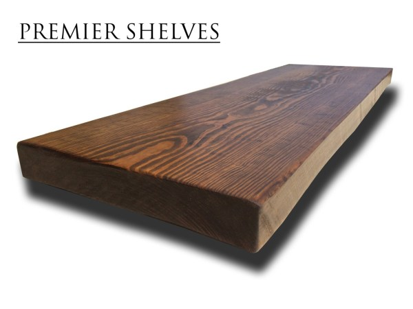 Rustic Wooden Floating Shelves Book Alcove