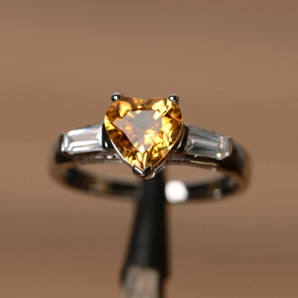 Natural Citrine Ring Heart Cut Engagement With Baguette