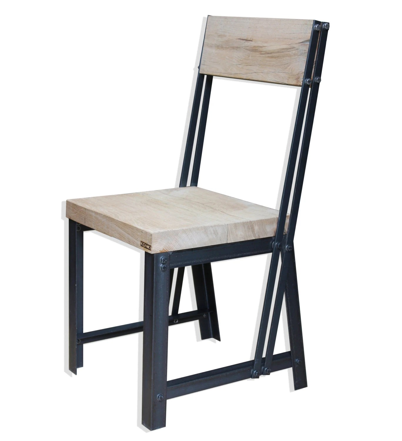 industrial style dining chairs old fashioned room konk oak steel chair