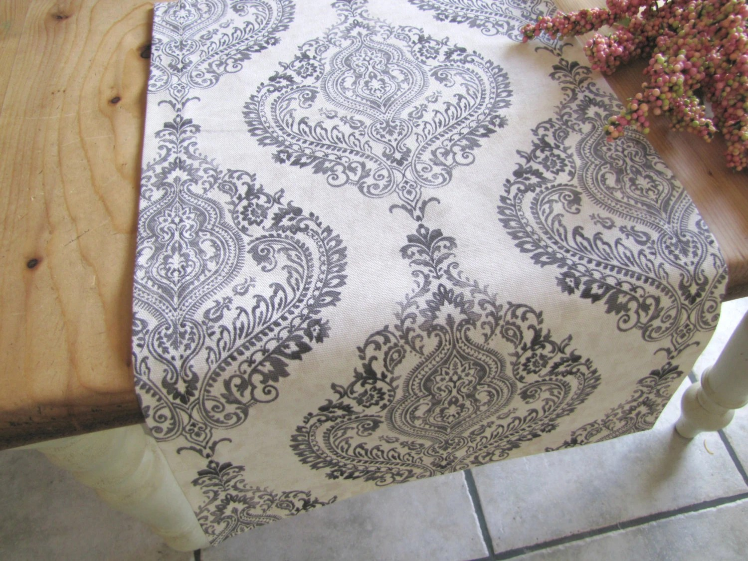 Gray And Ivory Table Runner Grey Damask Table Linens For Your