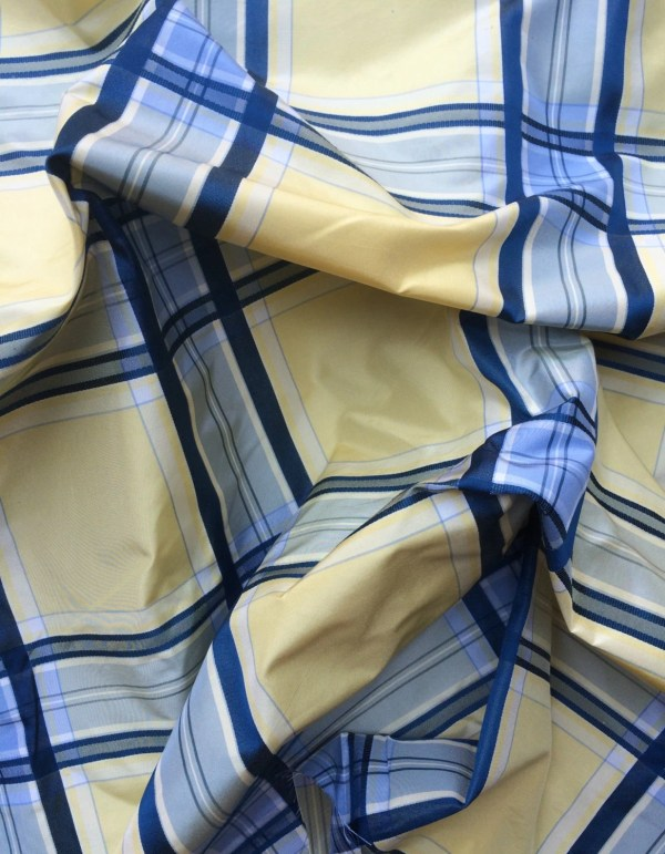 Blue And Yellow Plaid Silk Taffeta Fabric