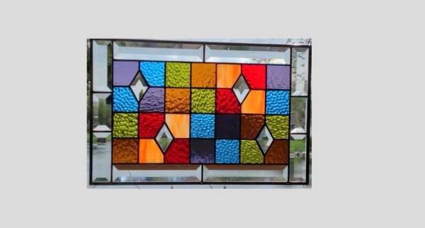 Beveled Stained Glass Panel Window Geometric Rainbow Quilt