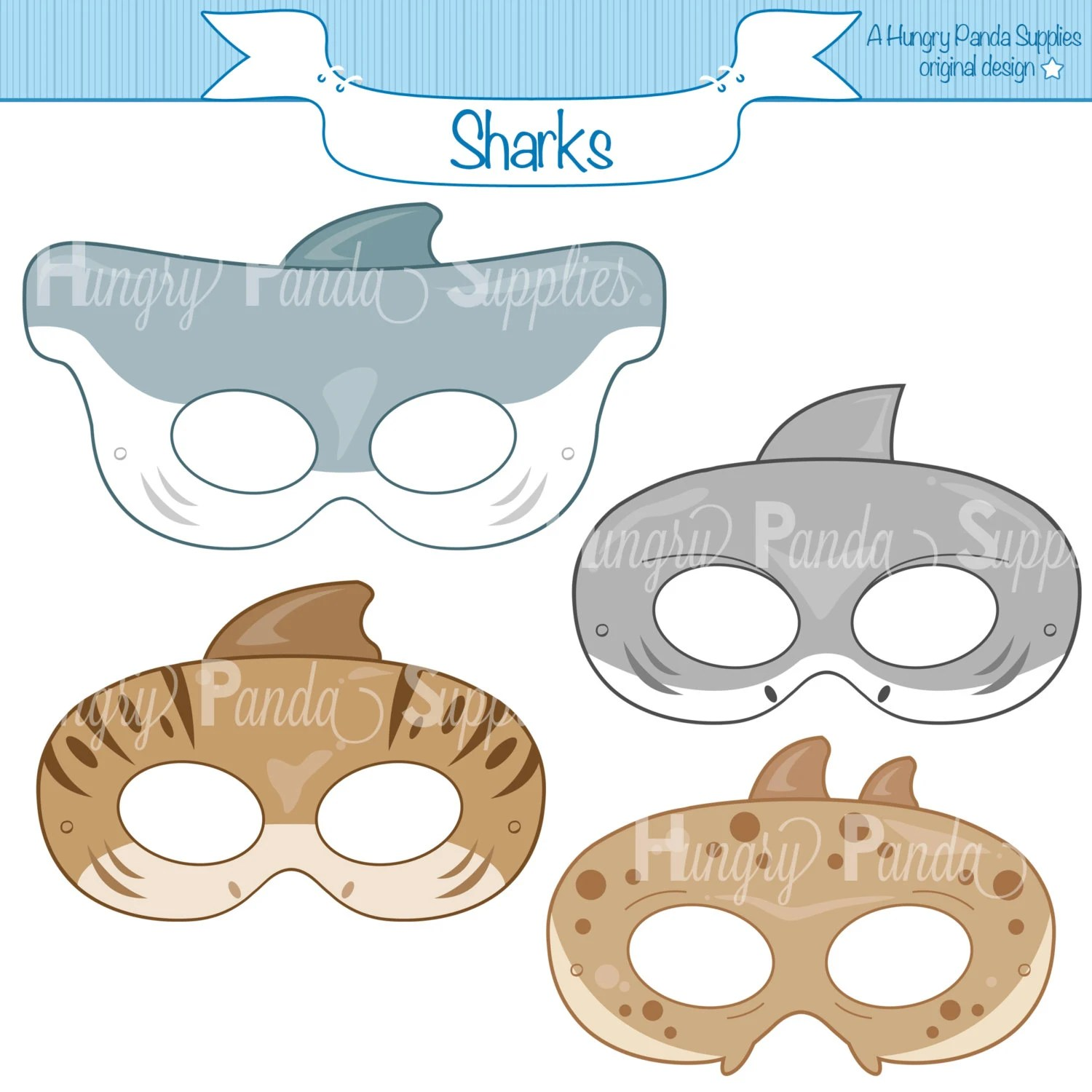 Sharks Printable Masks Shark Mask Tiger Shark Greate White