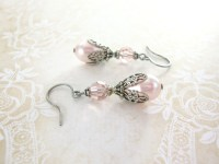 Light Pink Pearl Earrings Swarovski Crystal Earrings Pale