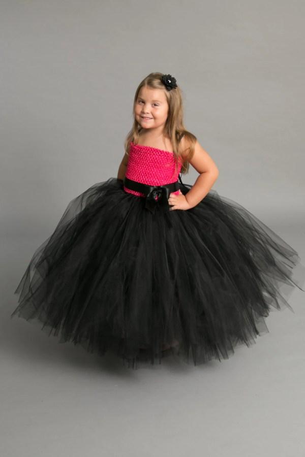 Black and Pink Tutu Flower Girl Dress