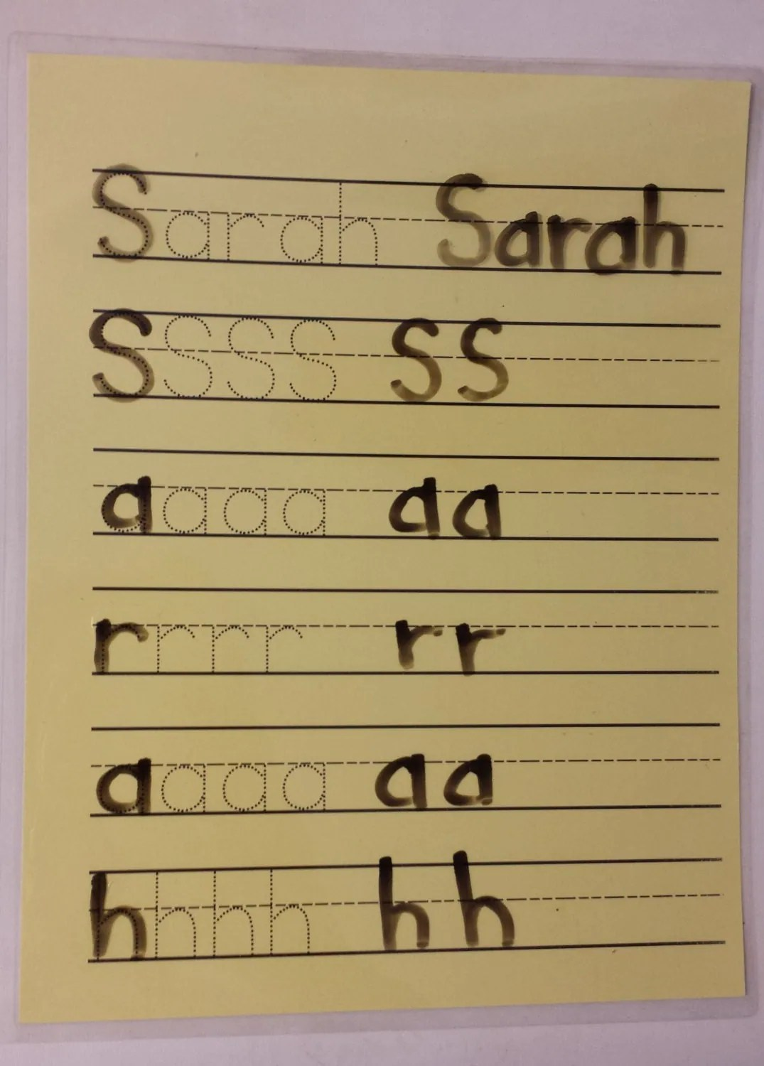 Dry Erase Activity Personalized Name Tracing Practice Name