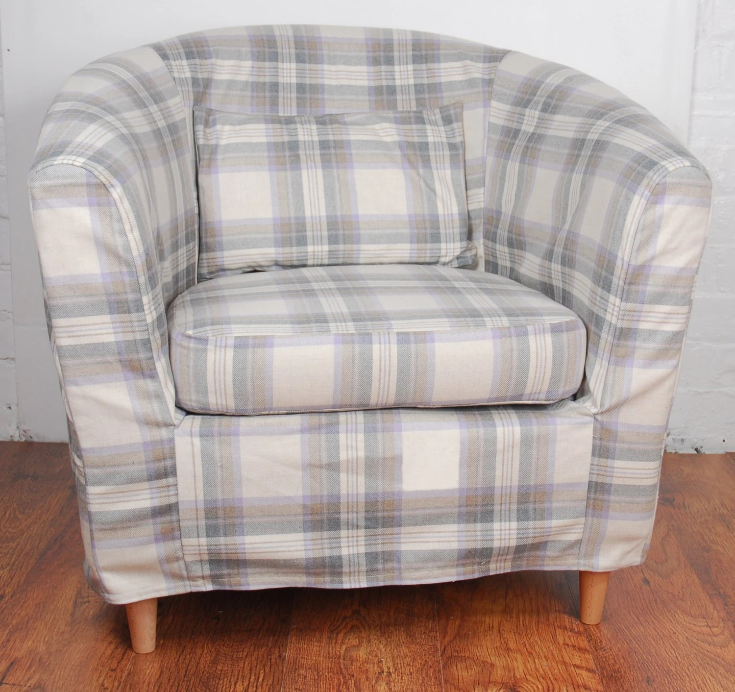ikea tullsta chair covers uk room hammock slip cover for the ektorp tub grey tartan