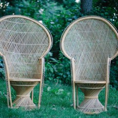 Fan Back Wicker Chair Ugly Covers Wedding Two Rattan Peacock Chairs By Shopmintyvintage