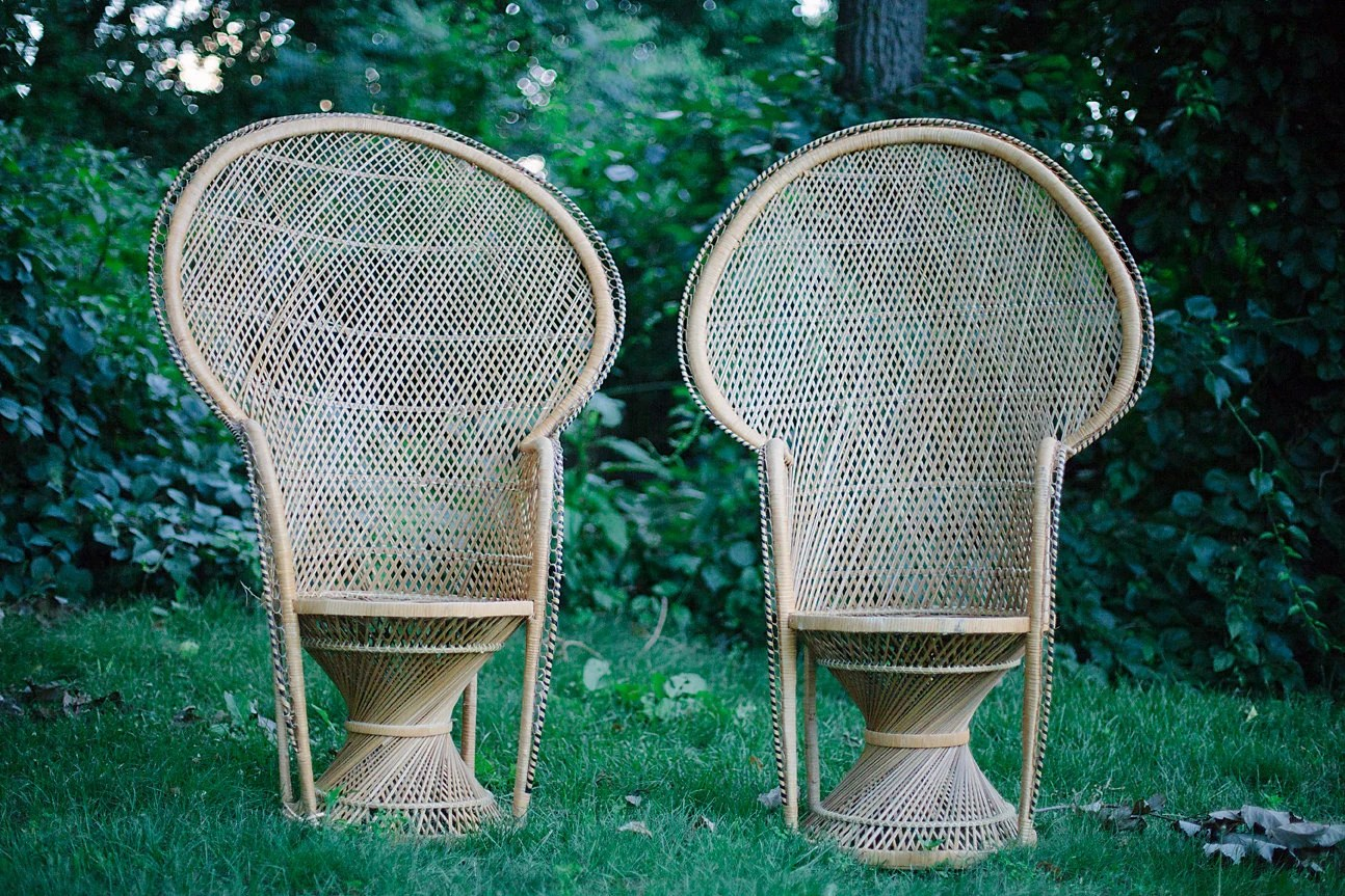 Fan Back Chair Two Wicker Rattan Peacock Fan Back Chairs By Shopmintyvintage