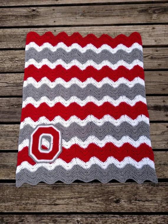 Ohio State Crochet Chevron Blanket with Crocheted Block O