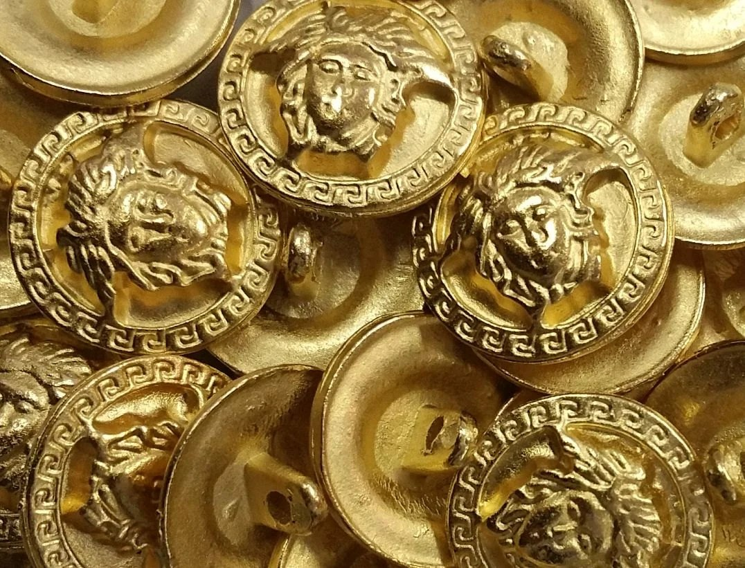 Vintage Versace Medusa Head Button with Square Scroll